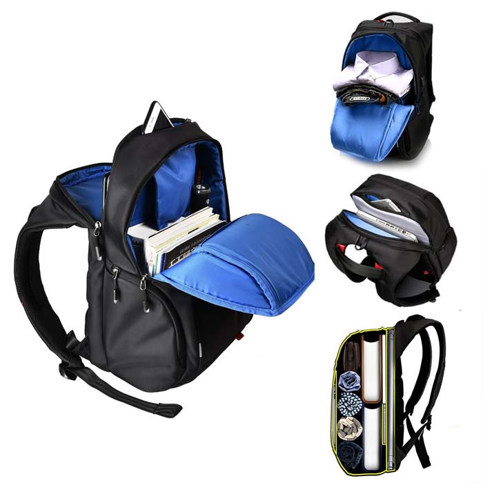 Color zipper blue karting men school bag backpackwith front compartment