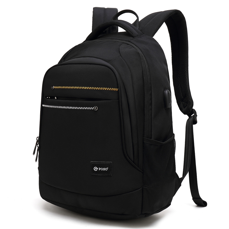 Black classic big capacity Poso casual laptop backpack in stock