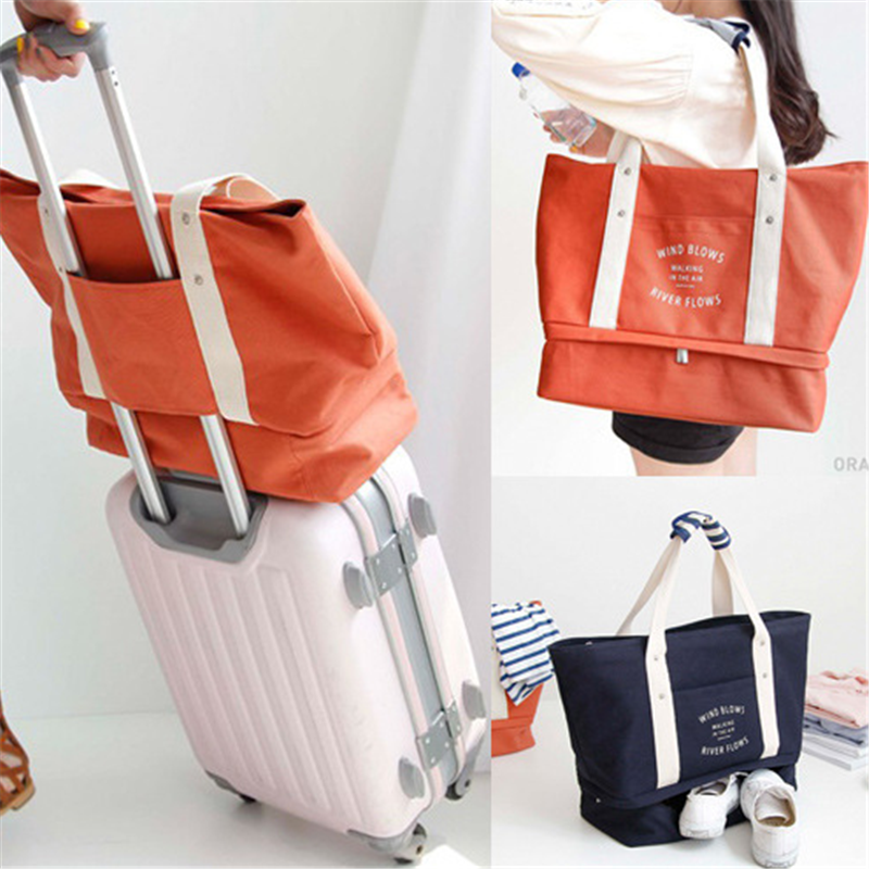 Fashion Heavy Duty Canvas Travel Bag Set Packing Cubes